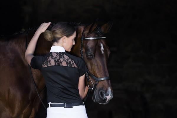 Sara Turniershirt mit Spitzeneinsatz am Rücken - EDEL! schwarz oder weiss