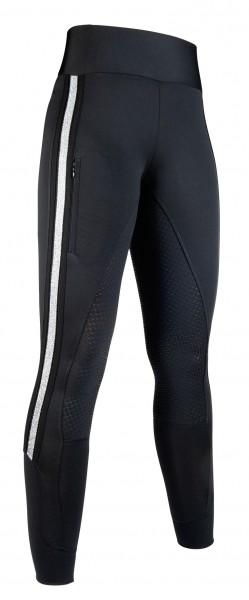 HKM Reitleggings Silver Stripe Style Vollbesatz Silikon