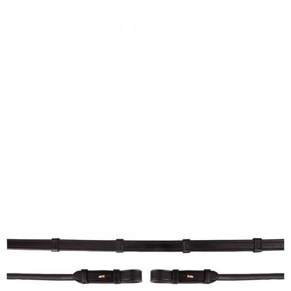 BR Lederzügel rundgenäht mit Stegen und innen gummiert, 16 mm goldene Schnalle